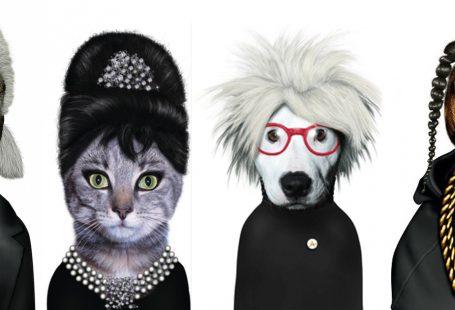 caricature di personaggi famosi con volti di animali